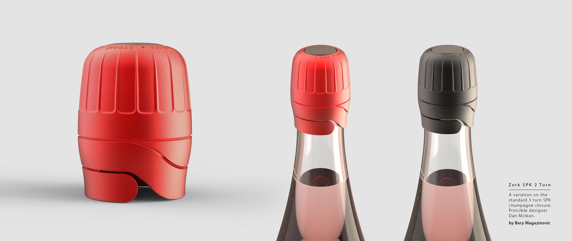 Australian Product Design Industrial Design Zork Wine closure 2 turn SPK sparkling champagne by Barry Magazinovic