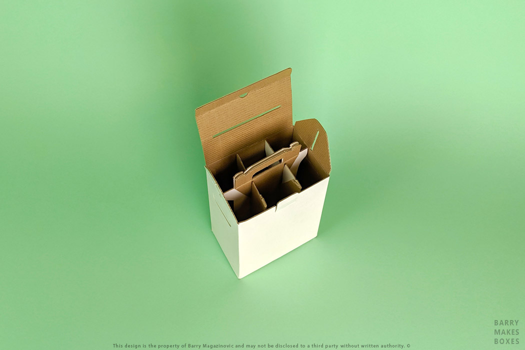 Australian Packaging Design, Product Design, Special Unique Best Simple Flat packed Divide Carry Conquer 6 wine bottle shipper carry handle divider on Green by Barry Makes Boxes, Barry Magazinovic