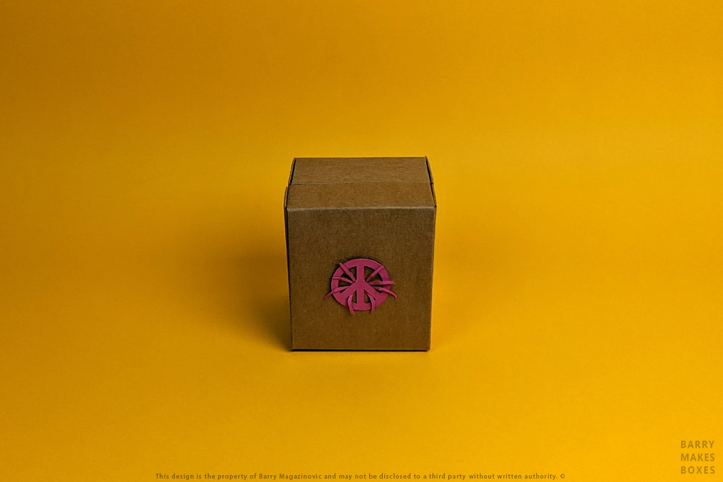 Australian Packaging Design, Product Design, Special Unique I come in Peace World Index Pink Grenade Exhibition Lid and base Recycled board on Orange by Barry Makes Boxes, Barry Magazinovic