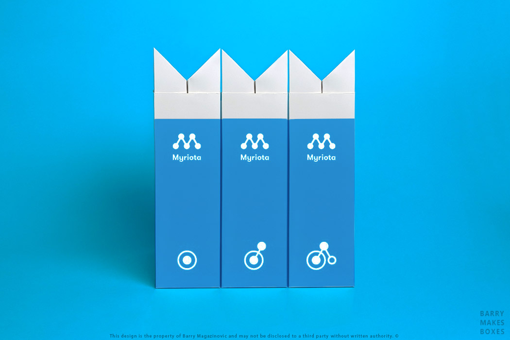 Australian Packaging Design, Product Design, Special Unique Cost saving Satellite of Love Myriota module shipper branding archival carton on Blue by Barry Makes Boxes, Barry Magazinovic