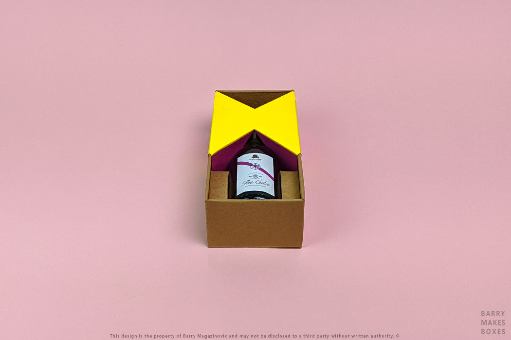 Australian Packaging Design, Product Design, Special Unique presentation promotion d'Arenberg Cube in a bottle single wine presentation pack Art carton on pink by Barry Makes Boxes, Barry Magazinovic