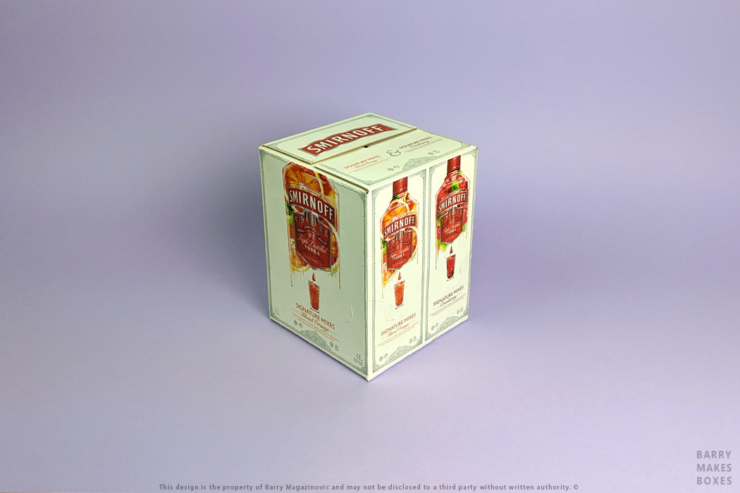 Australian Packaging Design, Product Design, Special Unique presentation promotion Sour and Sweet Twin Cask vodka pack Smirnoff carton on purple by Barry Makes Boxes, Barry Magazinovic